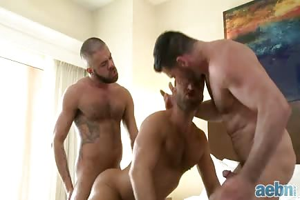 Muscular mature hairy men 3some