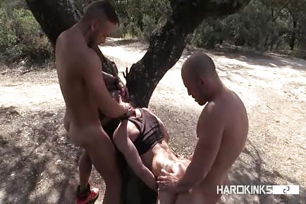 Naughty horny men fuck their trainer outdoors
