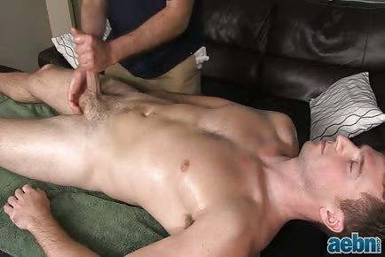Flacid straight dick gets hard