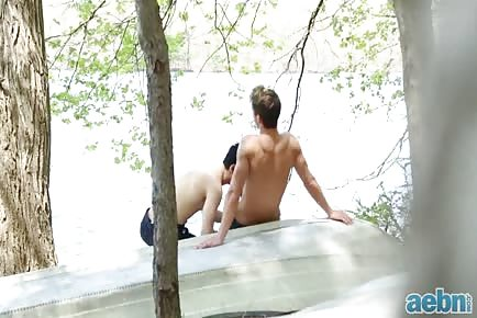 Hot boys sucking outdoor by lake and riding cock