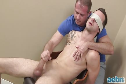 Sucked and jerked off by daddy on a chair while blindfolded