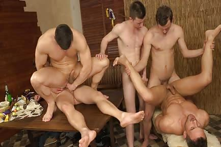 Prague wank party of smooth boys and men