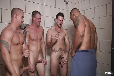 Football Stud Has His Hole Drilled By Some Hot Cocks In This Locker Room Orgy