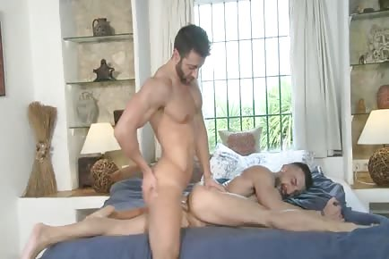 Sexy hot fit man does split on bed and gets ass pounded