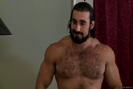 Hot buff bear masturbates with dildo