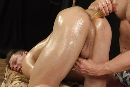 Relaxing cock and anus oil massage