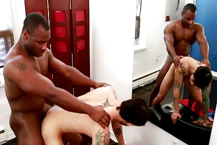 Huge black male ravages white bottom's ass hole