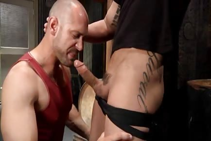 Horny bald male deepthroats big cock and gets his bubble butt pounded