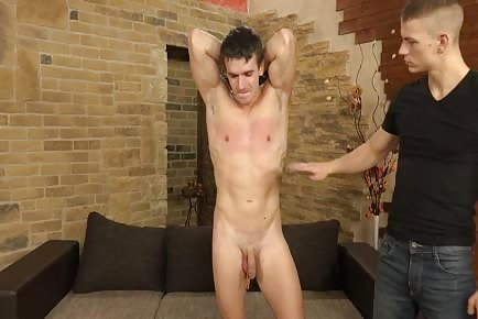Torturing straight hunk with hot wax and whip