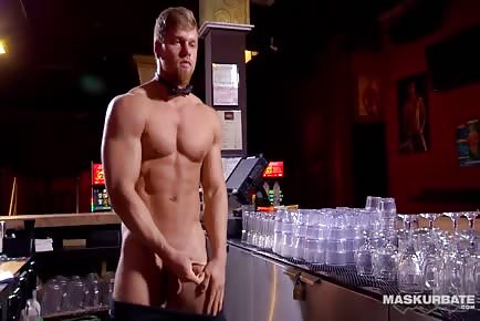 Bartender Brad serving sperm shots behind the bar