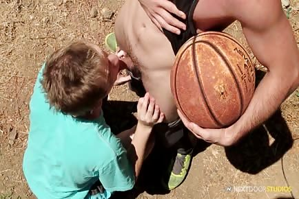 Sex on basketball court with young teen boy