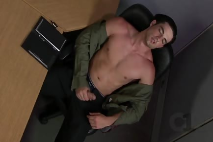 Jerking off and cumming with co-worker at the office