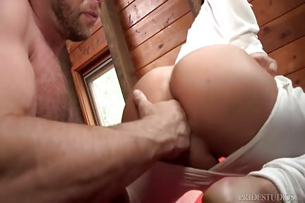 Muscle Coach Fucks His Student at Cabin Retreat