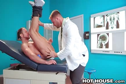 Doctor Austin Wolf examines butt of hunky patient Brendan Phillips