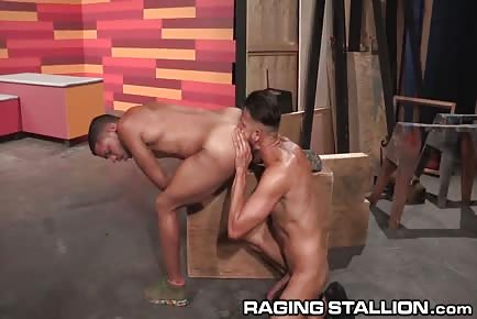 Tanned males kiss and eat some ass