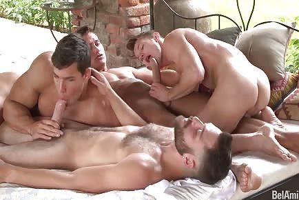 GORGEOUS big cock gay hunks gangbang HD