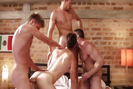 Double anal penetration bareback hunk orgy