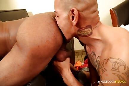 Enormous dick black guy craving asshole sucking