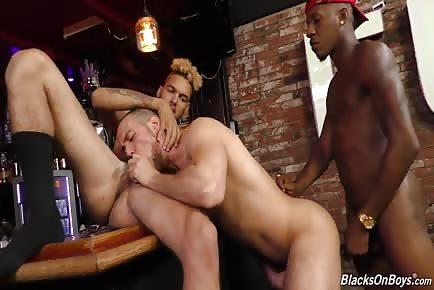 Interracial bar twink threesome