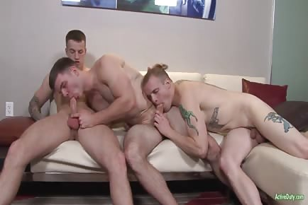 Double penetration first time military hunk