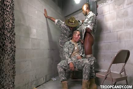 Army soldier sucking big black dick