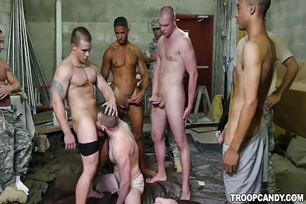 Army troops fight club gangbang