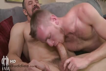 Muscular Daddy Max Sargent Cums In Younger Male's Mouth