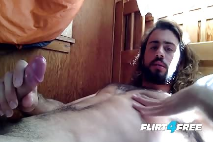 Long Hair Dude Sean Carraway Hot Cum Explosion on His Abs
