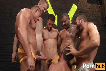 Parker Perry gets group fucked by horny pack of beefy males