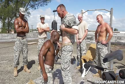 Army troop military training at sucking staff sergeant's cock