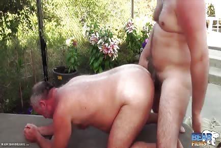Furry bear daddies poolside outdoor anal
