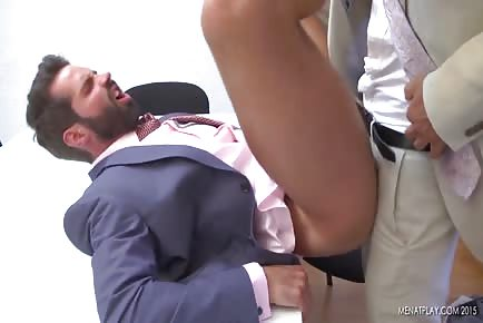 Spanish hunks get horny at work and fuck on office table