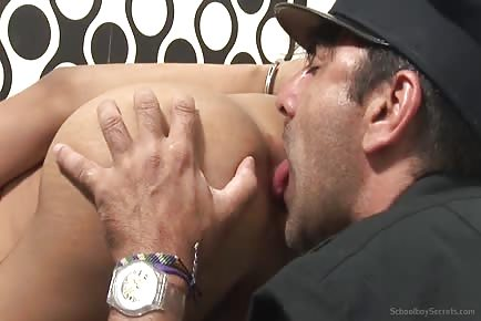 Police officer cuffs and licks asshole of young tiny latin school boy