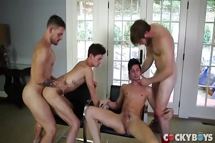 4 HOT & HORNY guys licking ass and fucking hard