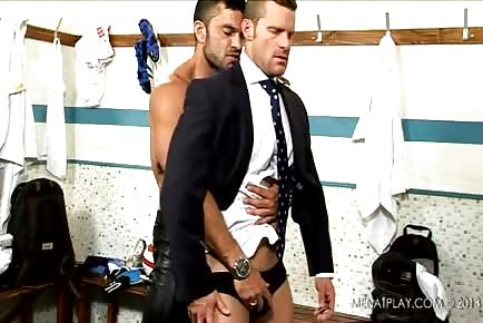Post game locker room fuck with hot muscle guys in suits