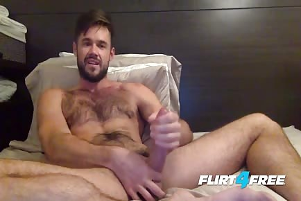 Hairy Hunk Otter Jerking Off His Big Fat Pornstar Cock