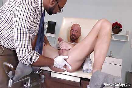 Black doctor finger blasts and licks straight patient's tight anus