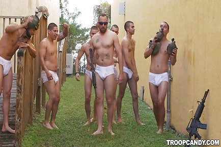 Young military men hitting the showers and drilling tight ass