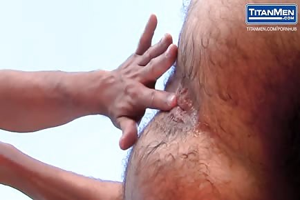 Ripped Hunk Bangs And Cums on His Hairy Stepdad In Backyard