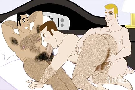 Hairy dads secret gay threesome fucking cartoon