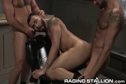 Furry hunks threesome gay sex in barber shop HD