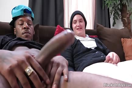 Young boy destroyed by big black thug cock