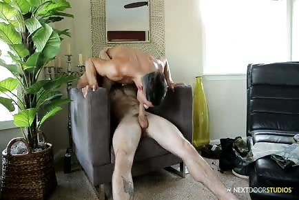 Hot bodies Johnny Riley and Ethan Slade riding cock on chair