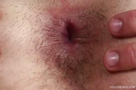 Closeup asshole fingering and masturbation stud Nathan Green