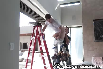 HOT Alex Mecum licks ass of stud during house renovations