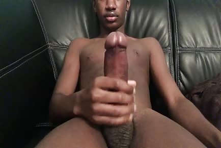 Big black dick young twink solo masturbation