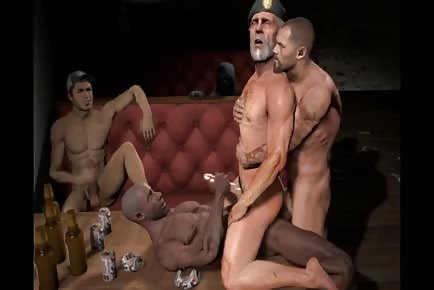 3D gay sex animation muscle hunks