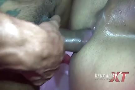 Inked Bear Hardcore Bareback Fucked And Showered With Cum