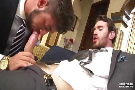 Ripped Bearded Gays Wearing Suits Fucking In Office