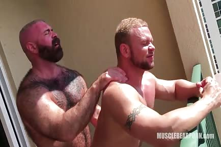 Muscular Hairy Bears RAW Pounding On A Balcony